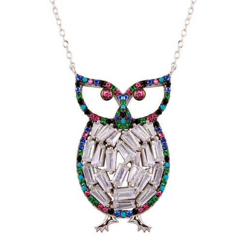 Wholesale Sterling Silver 925 Rhodium Plated Multi-Colored Owl Pendant with CZ - STP01607