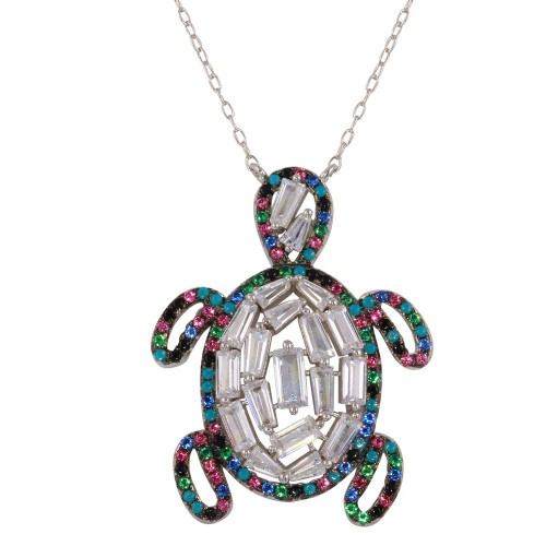 Wholesale Sterling Silver 925 Rhodium Plated Multi-Colored Turtle Pendant with CZ - STP01608