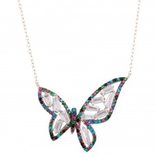 Wholesale Sterling Silver 925 Rhodium Plated Multi-Colored Butterfly Pendant with CZ - STP01609