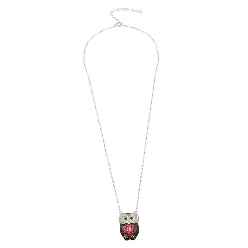 Wholesale Sterling Silver 925 Rhodium Plated Owl Pendant Necklace with CZ - STP01610
