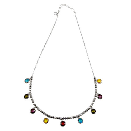 Wholesale Sterling Silver 925 Rhodium Plated Multi-Color Round CZ Bead Pendant Necklace - STP01611