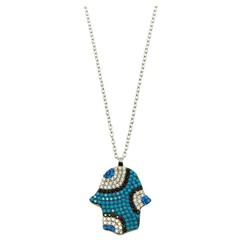 Wholesale Sterling Silver 925 Rhodium Plated Blue Hamsa with CZ - STP01612
