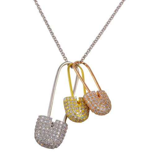 Wholesale Sterling Silver 925 Rhodium Plated Tri-Colored Safety Pins Necklace with CZ - STP01613