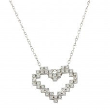 Wholesale Sterling Silver 925 Rhodium Plated Digital Heart Necklace with CZ - STP01614