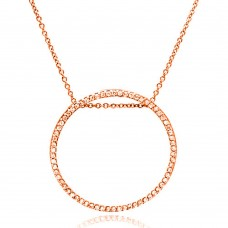 **Closeout** Wholesale Sterling Silver 925 Rose Gold Plated Circle Pendant Necklace with CZ - STP00264RGP
