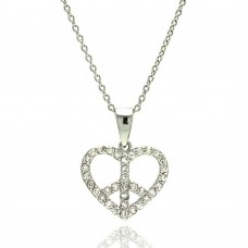 **Closeout** Wholesale Sterling Silver 925 Rhodium Plated Heart Peace Sign CZ Pendant Necklace - STP00896