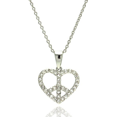 -Closeout- Wholesale Sterling Silver 925 Rhodium Plated Heart Peace Sign CZ Pendant Necklace - STP00896
