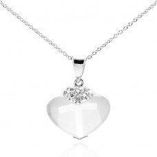 **Closeout** Wholesale Sterling Silver 925 Rhodium Plated Clear CZ Heart Pendant Necklace - STP01064CLR