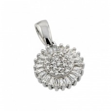 Wholesale Sterling Silver 925 Rhodium Plated Clear Cluster and Baguette CZ Flower Pendant Necklace - STP01370