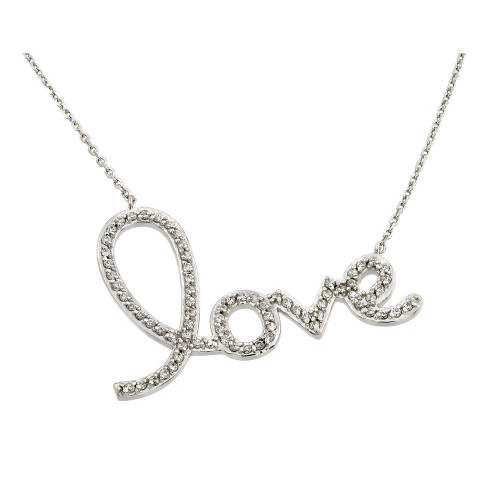 Wholesale Sterling Silver 925 Rhodium Plated Clear CZ Love Pendant Necklace - STP01371
