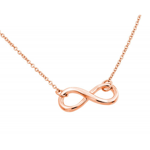 Wholesale Sterling Silver 925 Rose Gold Plated Clear CZ Infinity Pendant Necklace - STP01373RGP