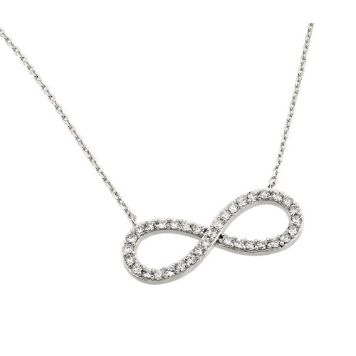 Wholesale Sterling Silver 925 Rhodium Plated Clear CZ Infinity Pendant Necklace - STP01375RH