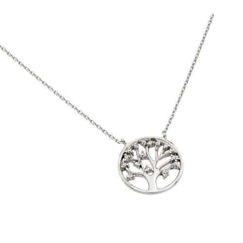 Wholesale Sterling Silver 925 Rhodium Plated Clear CZ Round Tree Pendant Necklace - STP01378