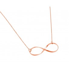 Sterling Silver Rose Gold Plated Clear CZ Infinity Pendant Necklace stp01380rgp