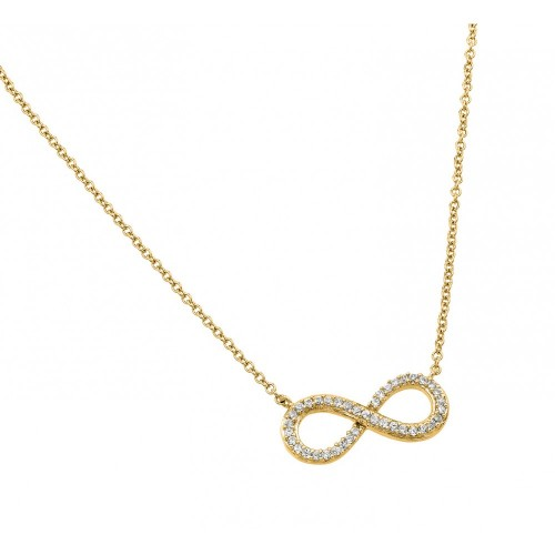 Wholesale Sterling Silver 925 Gold Plated Clear CZ Infinity Pendant Necklace - STP01381GP
