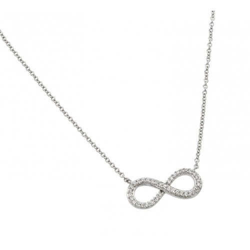 Wholesale Sterling Silver 925 Rhodium Plated Clear CZ Infinity Pendant Necklace - STP01381RH
