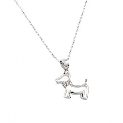 Wholesale Sterling Silver 925 Rhodium Plated Clear CZ Dog Pendant Necklace - STP01385