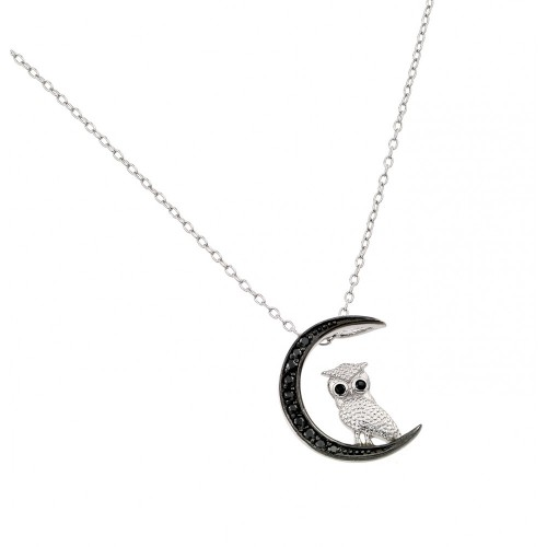 Wholesale Sterling Silver 925 Black Rhodium Plated Moon and Owl Pendant Necklace - STP01386