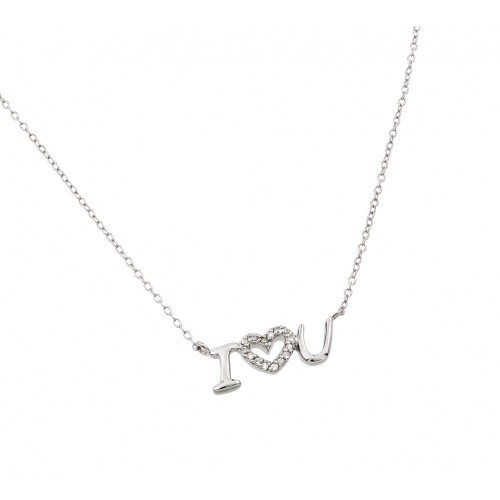 """Wholesale Sterling Silver 925 Rhodium Plated Clear CZ """"I Heart U"""" Pendant Necklace - STP01387"""