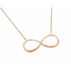 Sterling Silver Rose Gold Plated Infinity Pendant Necklace stp01388rgp