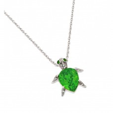 Wholesale Sterling Silver 925 Rhodium Plated Clear and Light Green CZ Turtle Pendant Necklace - STP01389