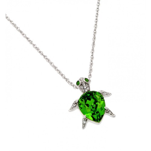 Wholesale Sterling Silver 925 Rhodium Plated Clear and Green CZ Turtle Pendant Necklace - STP01390