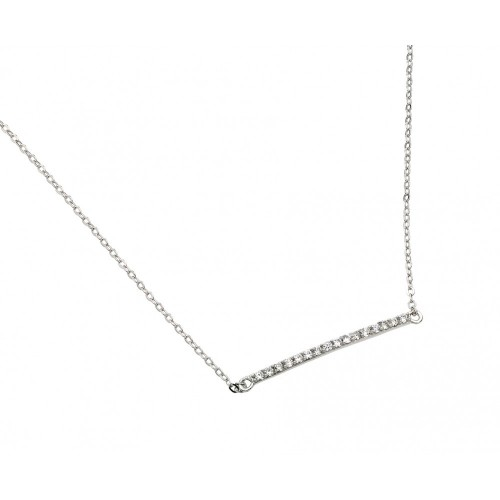 Wholesale Sterling Silver 925 Rhodium Plated Clear CZ Line Pendant Necklace - STP01394