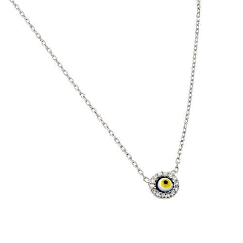 Wholesale Sterling Silver 925 Rhodium Plated Clear CZ Yellow Eye Pendant Necklace - STP01395