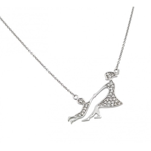 Wholesale Sterling Silver 925 Rhodium Plated Clear CZ Mother and Child Pendant Necklace - STP01397