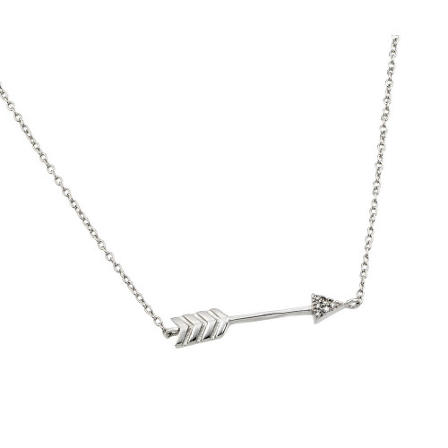 Wholesale Sterling Silver 925 Rhodium Plated Clear CZ Arrow Pendant Necklace - STP01382