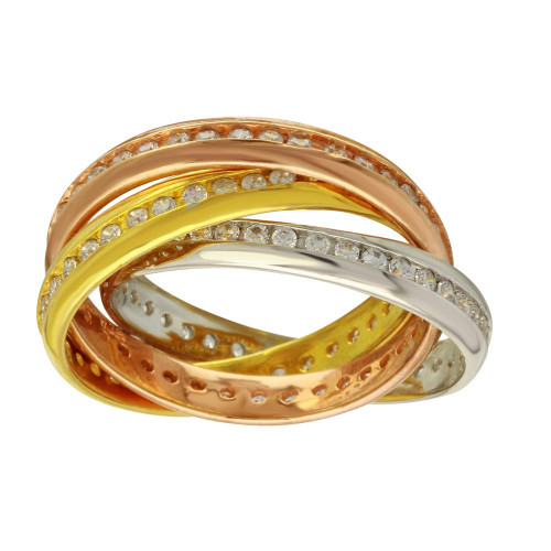 Wholesale Sterling Silver 925 Three Toned Interlocked Eternity Bands - RC104902