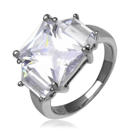 Wholesale Sterling Silver 925 Rhodium Plated Clear Princess Cut CZ Ring - STR00047CLR