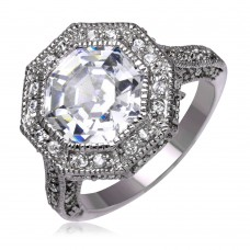**Closeout** Wholesale Sterling Silver 925 Oxidized Rhodium Plated Clear Octagon CZ Ring - STR00120CLR