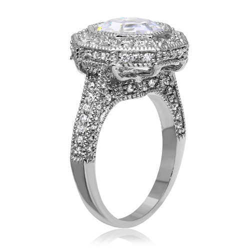 -Closeout- Wholesale Sterling Silver 925 Oxidized Rhodium Plated Clear Octagon CZ Ring - STR00120CLR