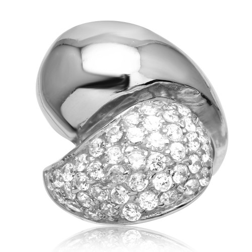 -Closeout- Wholesale Sterling Silver 925 Rhodium Plated Twist CZ Ring Plated - STR00186