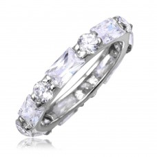 Sterling Silver Rhodium Plated Clear Baguette Clear CZ Eternity Ring str00516