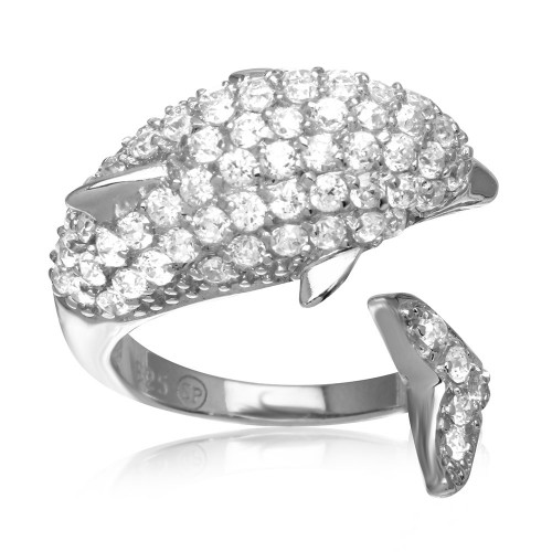 Wholesale Sterling Silver 925 Rhodium Plated Dolphin Encrusted CZ Ring - STR00565