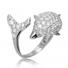 Sterling Silver Rhodium Plated Dolphin Encrusted CZ Ring - STR00565