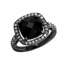 Sterling Silver Black Rhodium Plated Square Halo Black CZ Center Ring - STR00597BLK