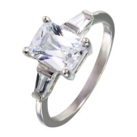 Wholesale Sterling Silver 925 Rhodium Plated Square and Baguette CZ Stones Ring - STR00703