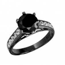 Sterling Silver Black Rhodium CZ Shank Black CZ Center Stone Ring - STR00758BLK