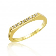 Wholesale Sterling Silver 925 Gold Plated Stackable Flat Top CZ Ring - STR01047GP