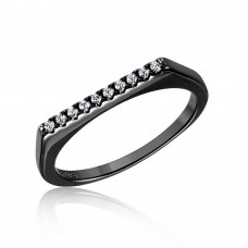 Wholesale Sterling Silver 925 Black Rhodium Plated Stackable Flat Top CZ Ring - STR01047BLK