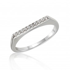 Wholesale Sterling Silver 925 Rhodium Plated Stackable Flat Top CZ Ring - STR01047RH