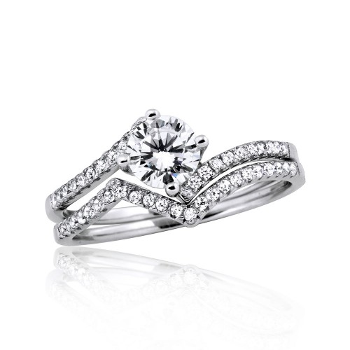 Wholesale Sterling Silver 925 Rhodium Plated 2 Zigzag  Engagement CZ Ring with 6mm Center - STR01048