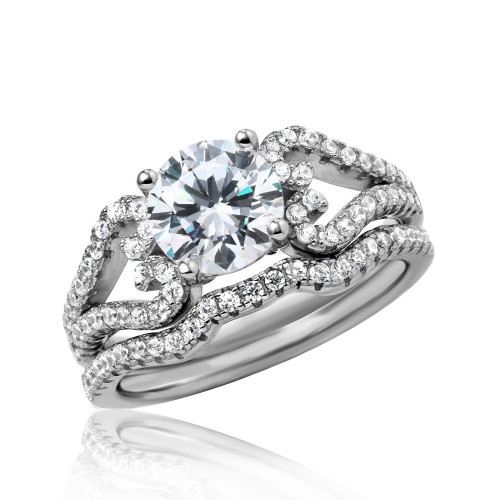 Wholesale Sterling Silver 925 Rhodium Plated Heart Engagement CZ Silver Ring with 7mm Center - STR01050