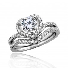 Wholesale Sterling Silver 925 Rhodium Plated CZ Heart Engagement Ring - STR01051