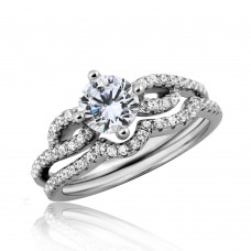 Wholesale Sterling Silver 925 Rhodium Plated Engagement Wave CZ Ring - STR01052