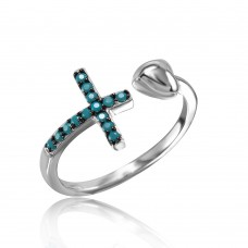 Wholesale Sterling Silver 925 Rhodium Plated Cross And Heart Ring with Synthetic Turquoise Stones - STR01053