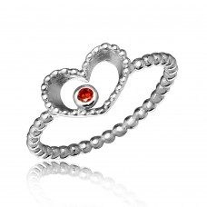 Wholesale Sterling Silver 925 Rhodium Plated Open Heart Ring with Red CZ - STR01055
